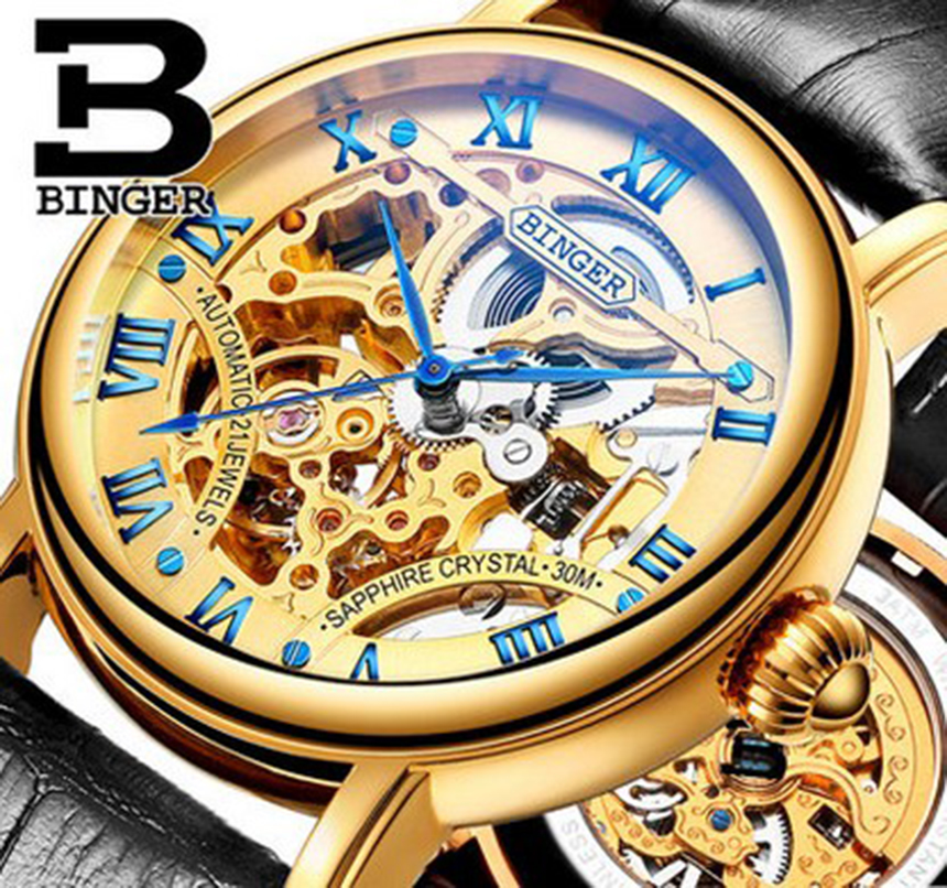 Genuine Luxury BINGER Brand Men automatic mechanical leather strap self-wind double-sided hollow waterproof male fashion watch