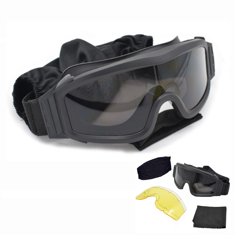 Airsoft 3 Lenses Tactical Goggles Glasses UV Face Eye Protection Mask