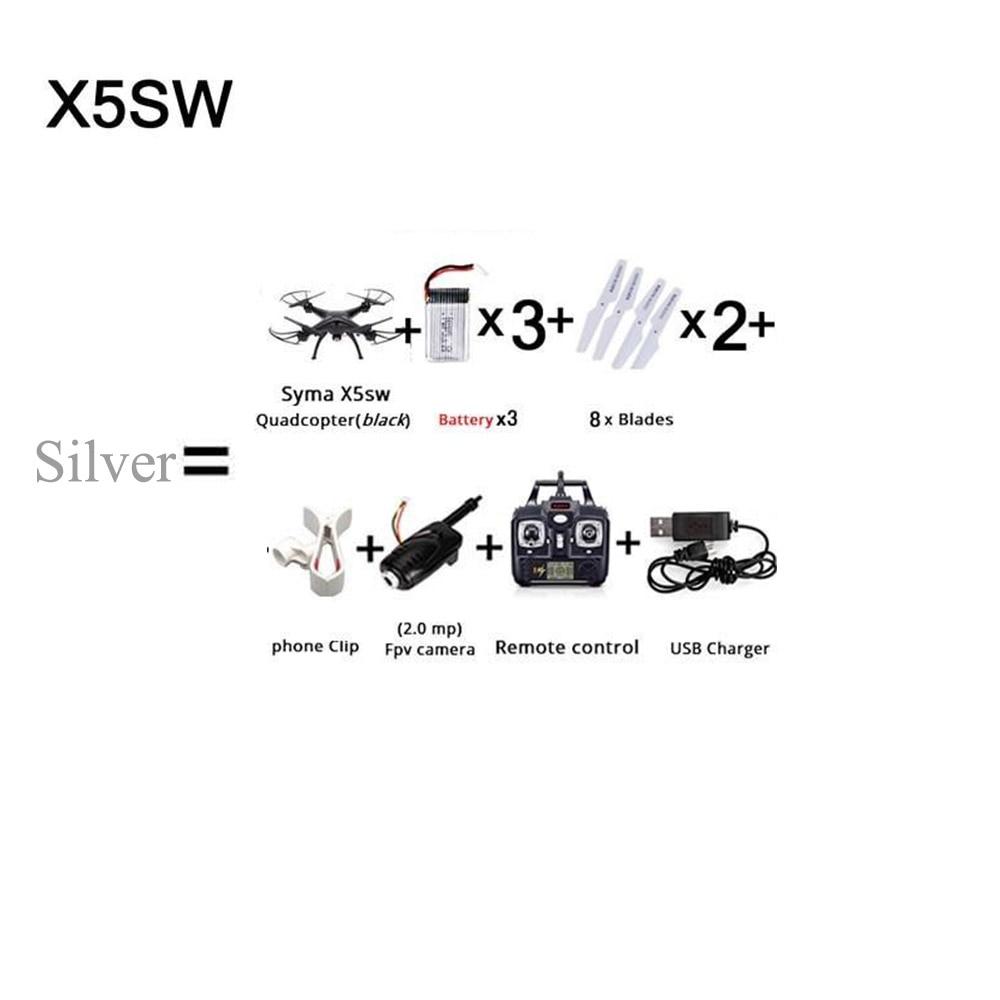 SYMA X5SW X5SC WI-FI RC квадролет с дистанционным управлением с видом от первого лица Квадрокоптер с HD Камера в режиме реального времени Радиоуправляемый вертолет, игрушки FSWB - Цвет: Серебристый