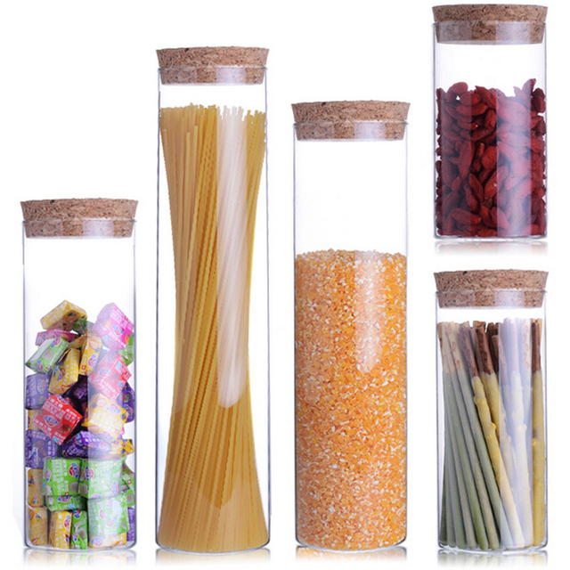 Transparent glass jars Seal jars Grains storage Bottles spice jar kitchen storage cans Kitchen Storage Organization