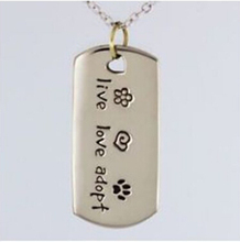 Low Price Dogs Paw Print Tag Pet Rescue Necklace  hot sales Live Love Adopt Cat Pendants Wholesale Dog