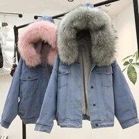 Women's Hooded Thick Jeans Jacket Denim Fleece Faux Fur Collar Coat Women 2019 Winter Padded Warm Coats Outwear Dropshipping