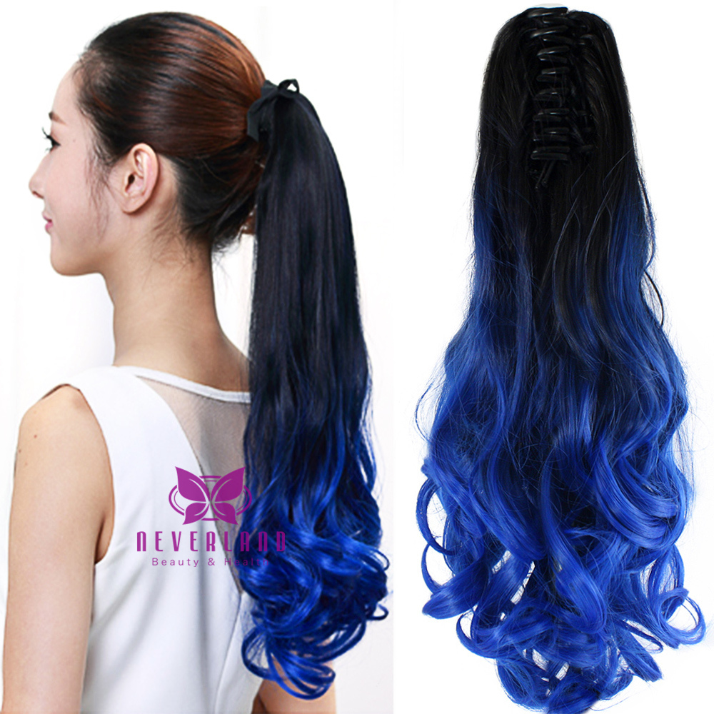 Blue color 20 50cm claw pony tail ponytail clip in on hair blue color 20 50cm claw pony tail ponytail clip in on hair extension wavy curly style synthetic hair hairpieces extensions on aliexpress alibaba pmusecretfo Choice Image