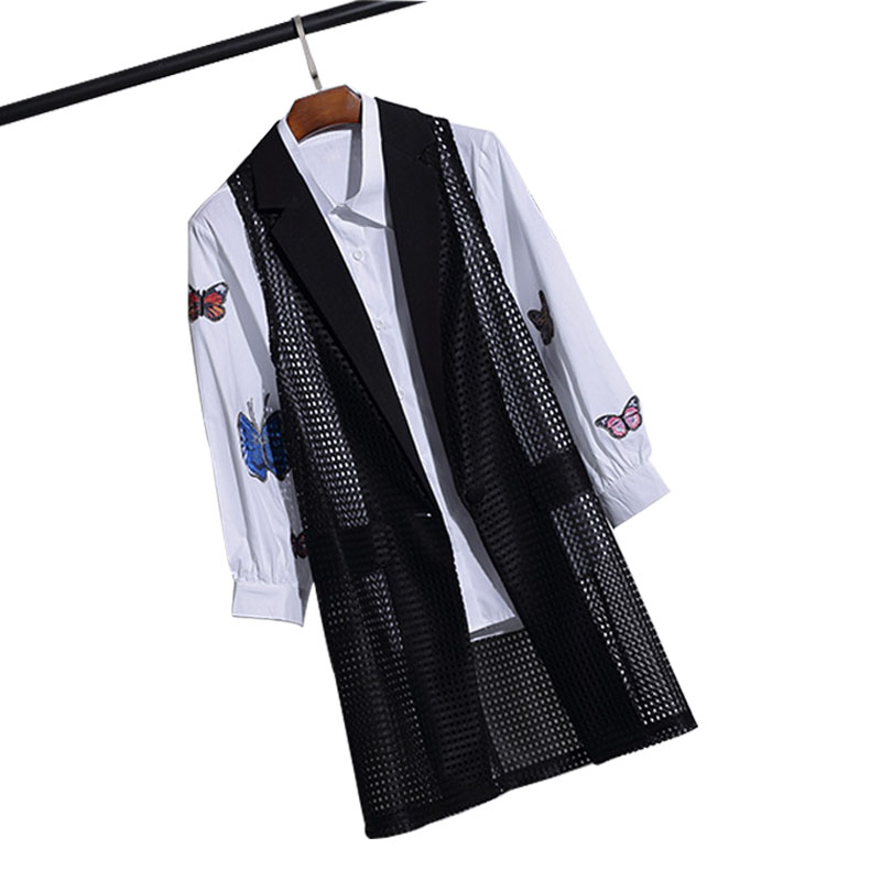 Cheap Turn-down Collar Hollow-out Long Women's Vest Plus Size Black Sleeveless Jacket Cardigan Office Lady Summer Waistcoat 4XL