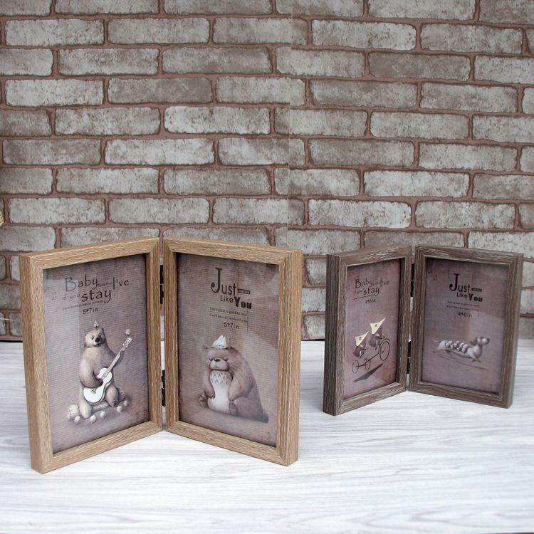 ᐂNueva llegada de madera foto Marcos doble caja patrón retro de ...