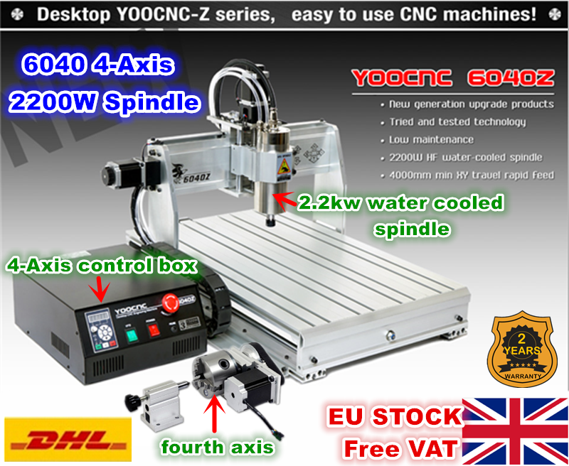 EU STOCK Free Tax 4 Axis USB Mach3 6040 2 2KW 2200W Water Cooled Spindle