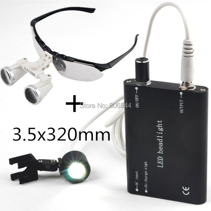 *Dentist Dental Surgical Medical Binocular Loupes 3.5X 320mm Optical Glass Loupe black A-08