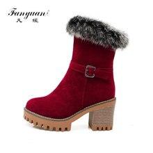 Fanyuan/модные зимние теплые плюшевые ботинки на платформе ботинки до середины икры с пряжкой и ремешком женская обувь на высоком каблуке женские зимние ботинки на меху