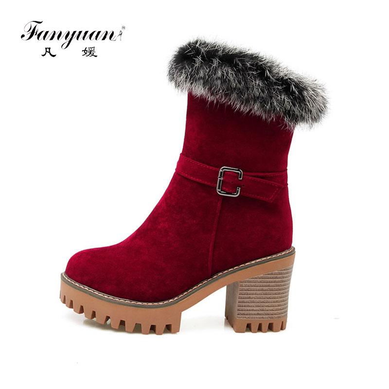 Fanyuan mode hiver chaud en peluche plate-forme bottes boucle de ceinture mi-mollet bottes femmes chaussures à talons hauts solide fourrure dames bottes de neige