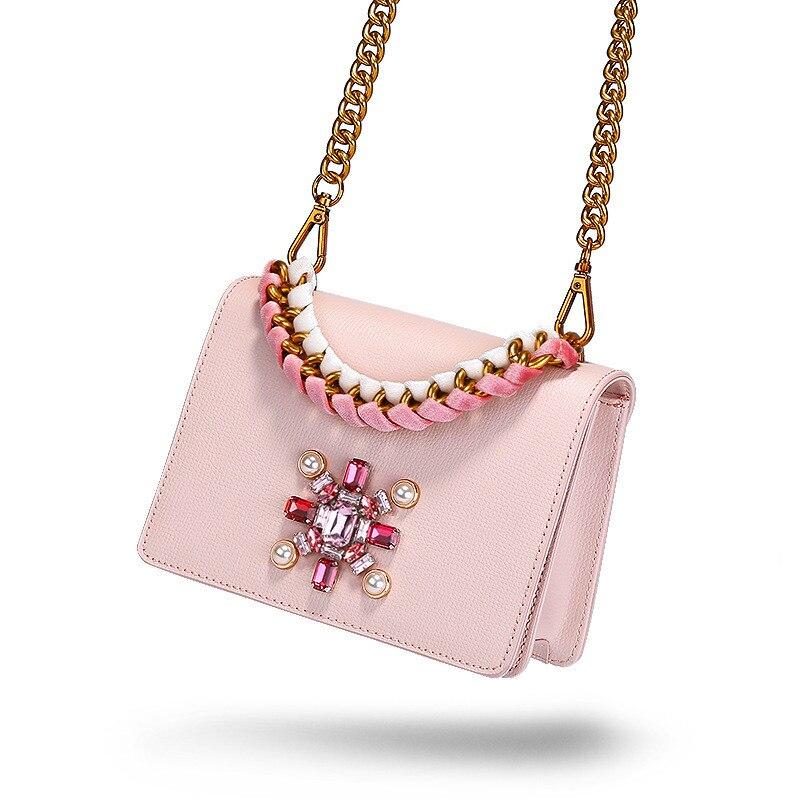 2018 Women Mini Handbags Lady Genuine Leather Woman Diamonds Pink Handbag Messenger Bags Knitting Chains Party Bag