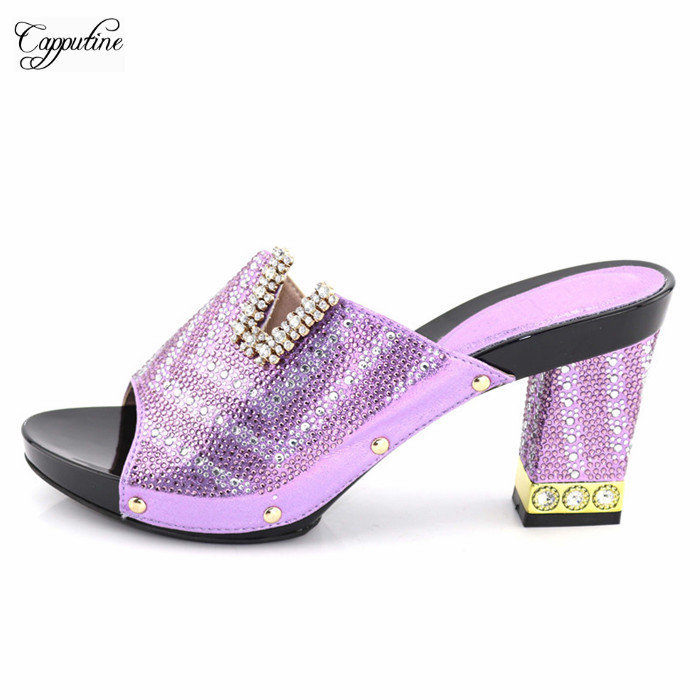 4eb0d64c7579 Wholesale price light purple with nice stones African high heel sandal shoes