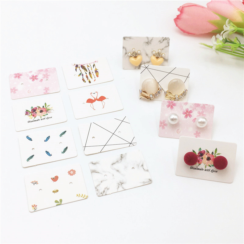 100 Pcs 3.5x 2.5cm Mini Lovely Various Styles Earrings With Flamingo/Marble/Flower Patterns Earrings Jewelry Display Card