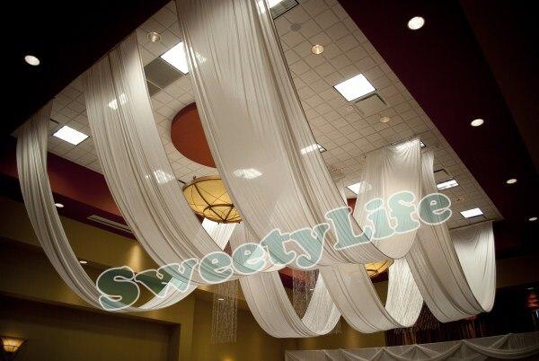 mariage 10 peas plafond drap canopy draperie pour dcoration de mariage tissu 14 m 14 m par pice toit polyester tricot - Drap Mariage Plafond
