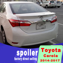 For Toyota Corolla 2014-2017 high quality ABS material big spoiler rear trunk wing rear spoiler by primer or black white color for toyota yaris yarisl spoiler abs material car rear wing primer color rear spoiler for toyota yaris l spoiler 2014 2017