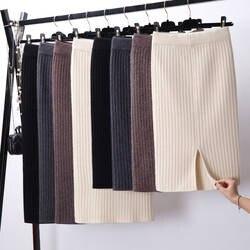 Для женщин разрез сзади Bodycon Элегантный юбка-карандаш миди осень-зима Повседневное вязаная юбка Высокая Талия юбки Для женщин s Юп роковой