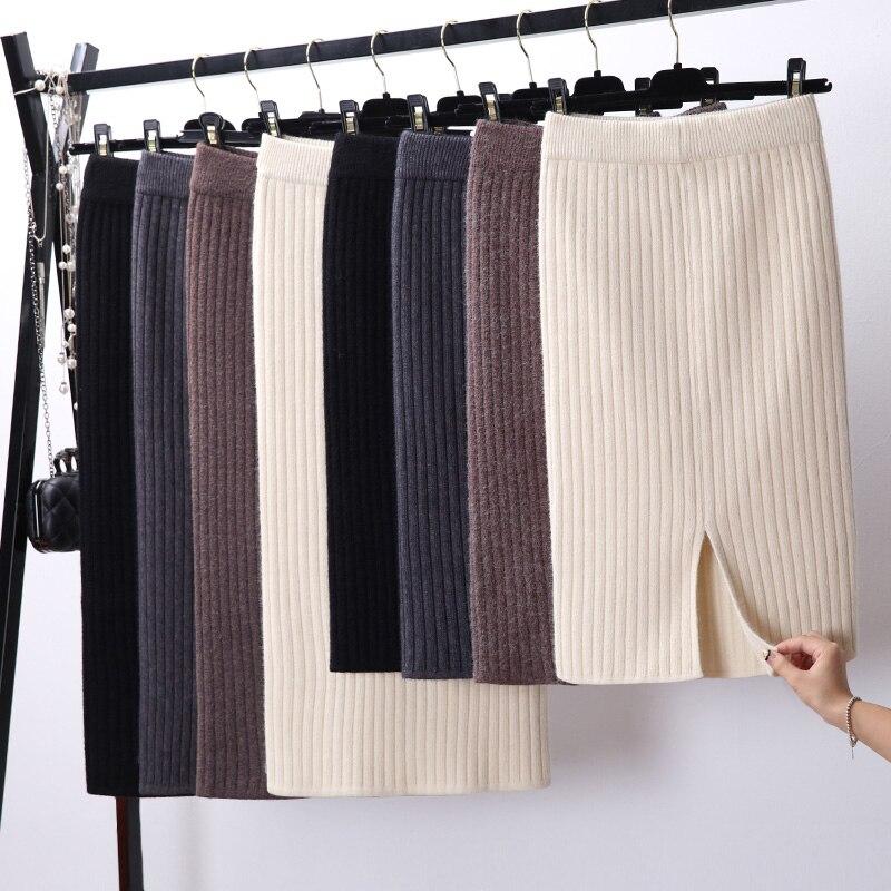 Falda de tubo elegante ceñida con abertura en la espalda para mujer Falda de punto Casual Otoño Invierno Faldas de cintura alta para mujer