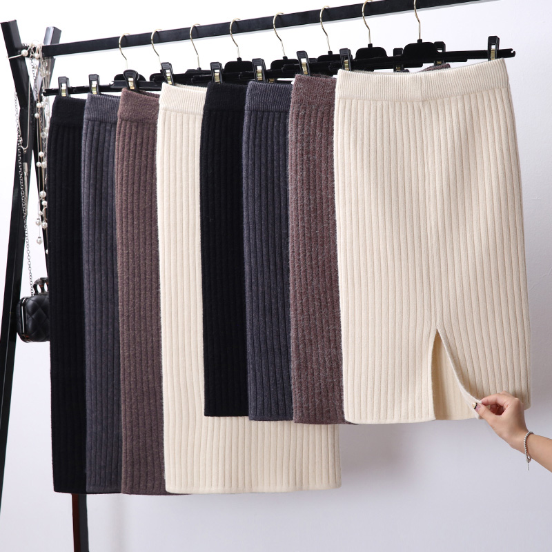 Women Back Slit Bodycon Elegant Midi Pencil Skirt Autumn Winter Casual Knitted Skirt High Waist Skirts Womens Jupe Femme Faldas