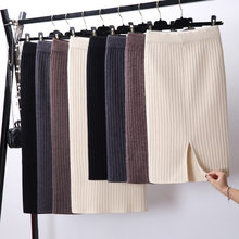 Women Back Slit Bodycon Elegant Midi Pencil Skirt Autumn Winter Casual Knitted Skirt High Waist Skirts Womens Jupe Femme Faldas(China)