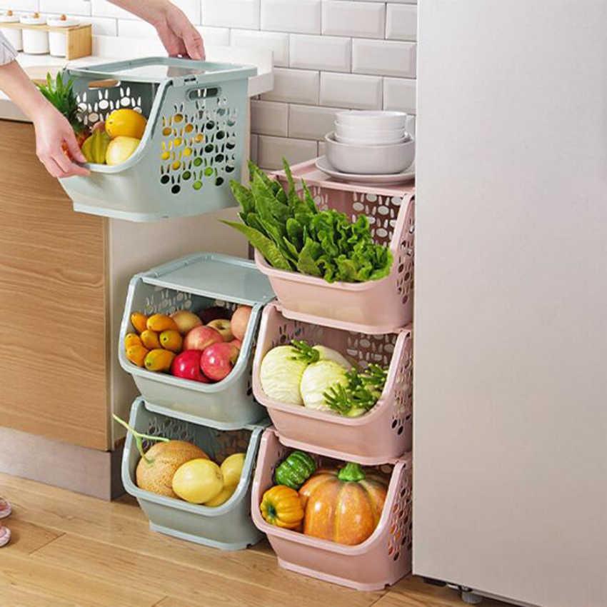 1 Pc Stackable Storage Basket Plastic Toy Storage Baskets Kitchen Snacks Vegetable Basket Bathroom Shelves Storage Baskets Aliexpress