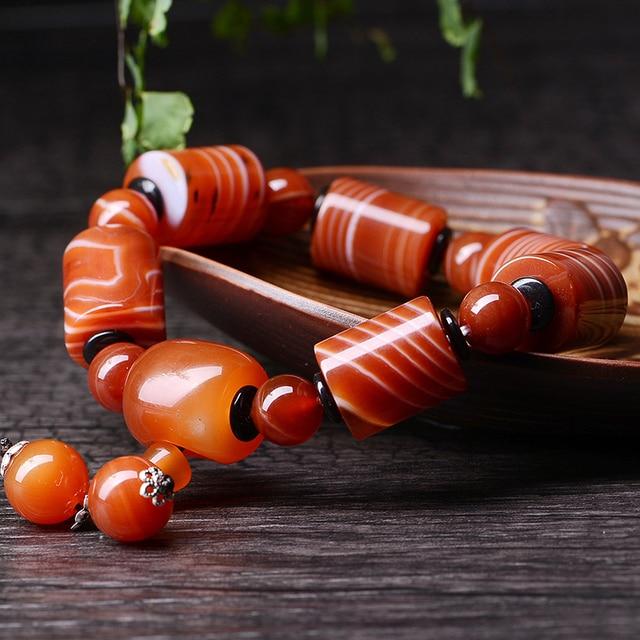 JoursNeige Natural Sardonyx Agate Bracelet 15mm Fine Carving Men Bracelets Jewelry Accessories Men Lucky Beads Bracelet Jade