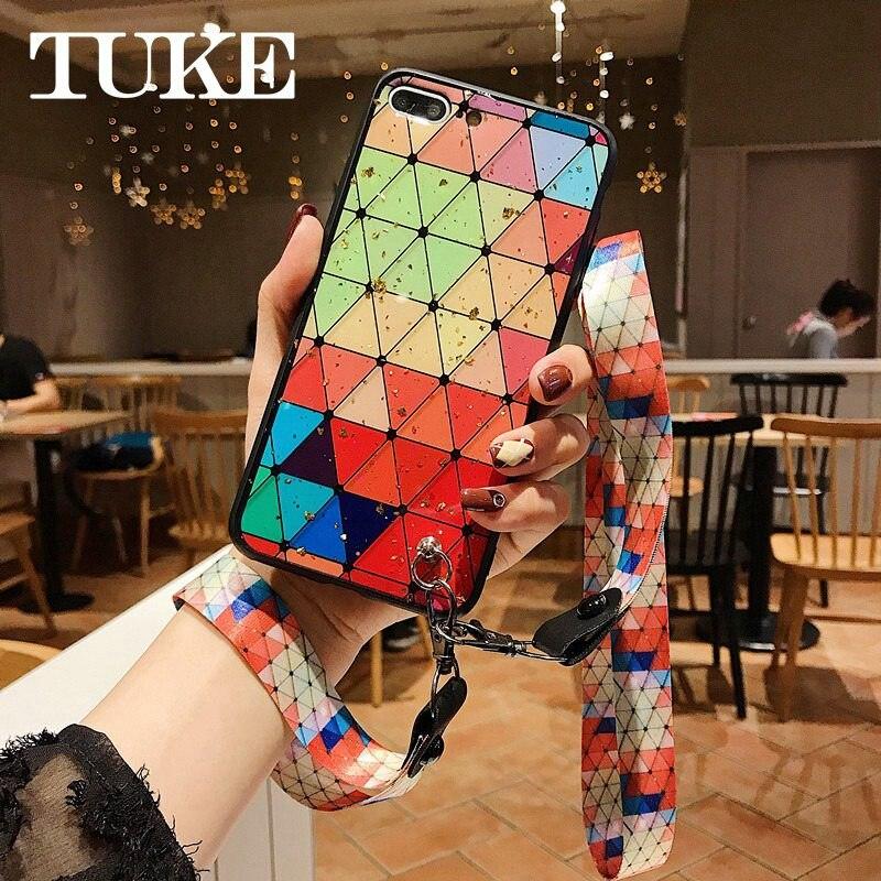 With Wrist Strap + Lanyard Phone Case For Huawei Honor V10 V20 V9 7C 7X 8X 8 10 Lite Play Enjoy 8 9 Plus 8E 9i Cover Color Art