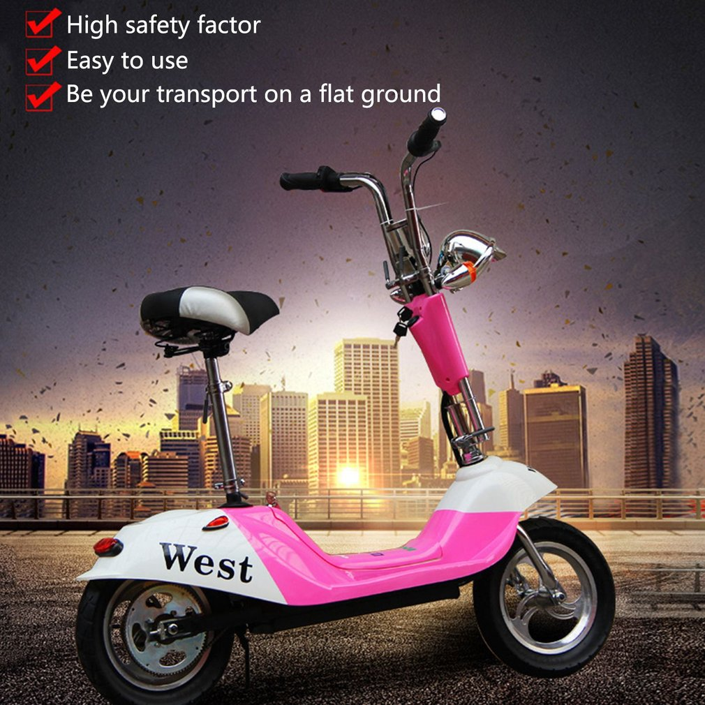 Electric Vehicle Mini Electric Scooter Battery Vehicle Foldable Adult Student Scooter Comfortable Cushion Rear Lights Wholesale купить