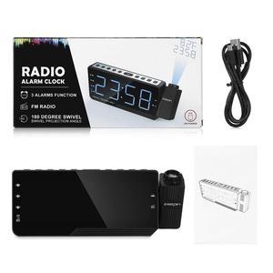 Image 5 - FM radyo çalar saat ile zaman projeksiyon sıcaklık elektronik masa saati başucu masa projektör izle nixie dijital saat