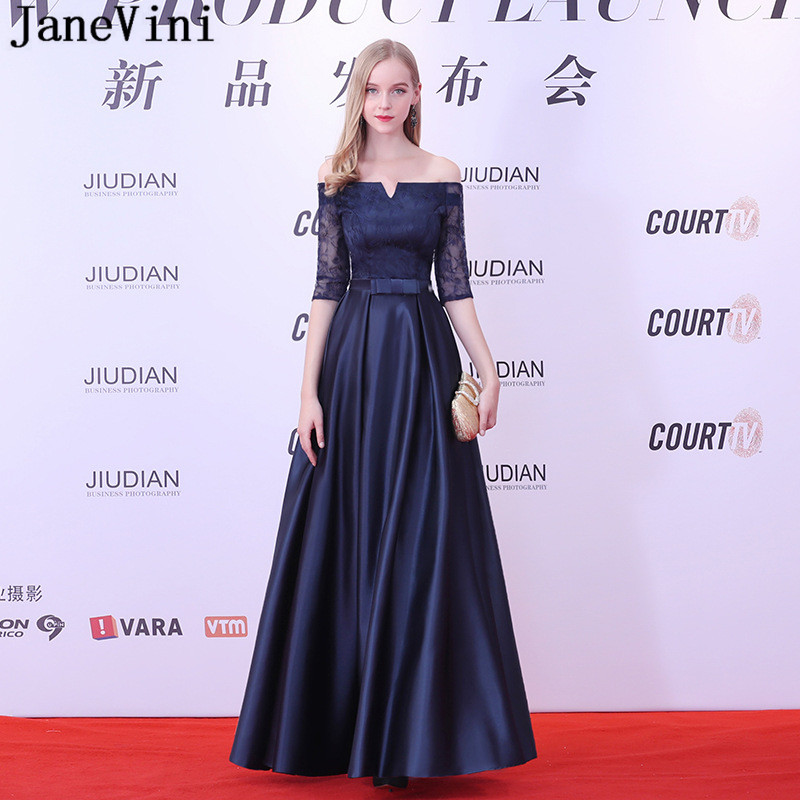 JaneVini Navy Blue Satin Long   Bridesmaid     Dresses   A Line Boat Neck Lace Half Sleeves Elegant Formal Prom Party Gowns Floor Length