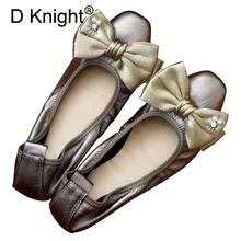 Genuine Leather Ballet Flats Wedding Shoes Sweet Bow Flat Heel Casual Shoes Square Toe Women Princess Flats Loafers Plus Size 43 недорого