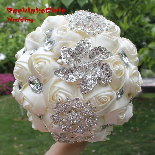100 % real picture Crystal Beaded Wedding Flowers Bouquet Bridesmaid ...