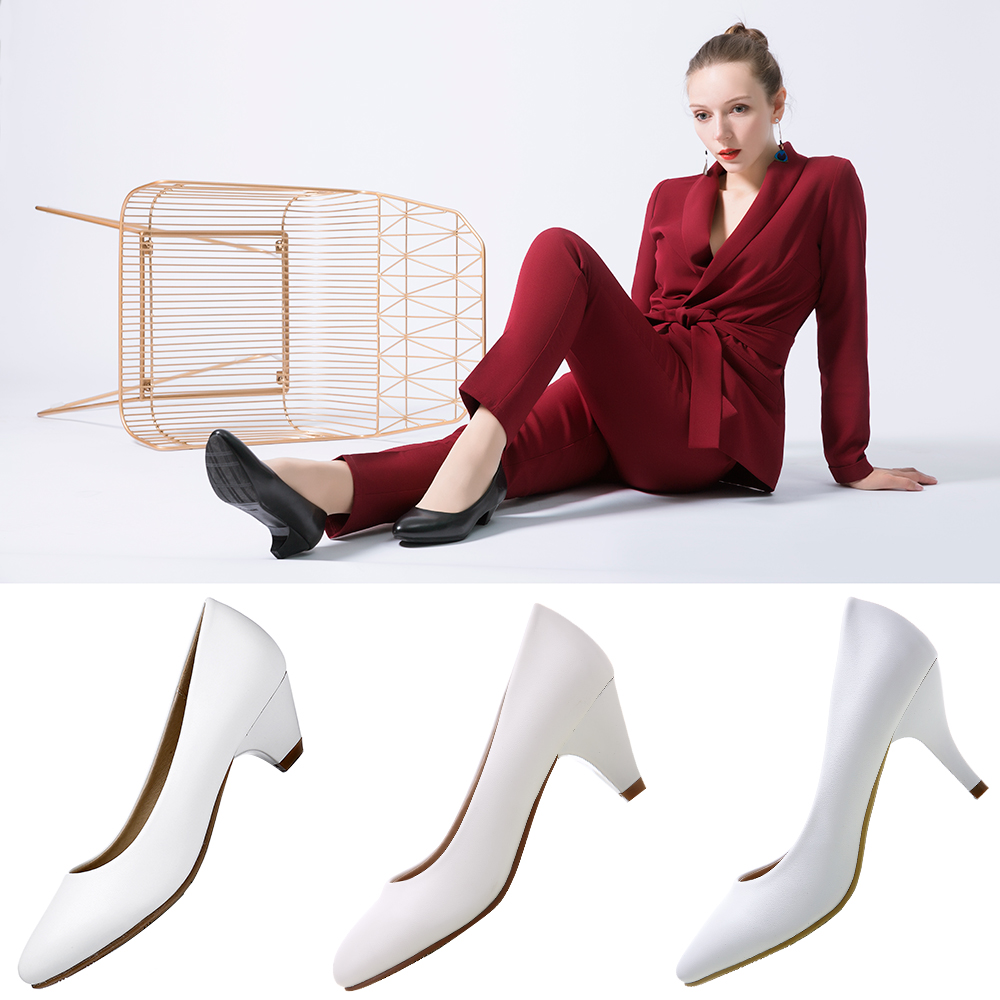 YALNN High Heels Pumps Women Daily Shoes Big Size 3/5/7CM Heels White Black Sexy Prom Officce Party Weeding Ladies Shoes