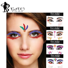 Beautome 09 2016 Fashion Temporary Tatoos Makeup Art Lace Eye Stickers Face Stickers Pat Costume Party NightClub Halloween Equip