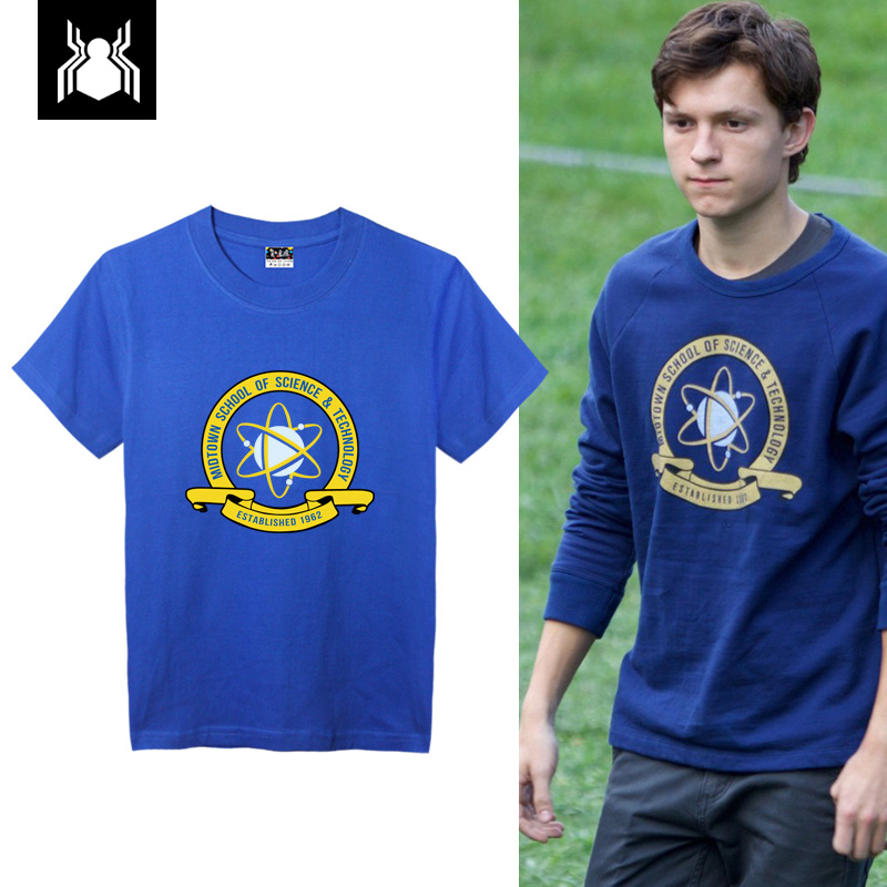 [STOCK] 2017 Movie Spiderman Homecoming Peter Parker Cosplay Costume Blue T-SHIRT For Halloween Unisex S-XXL Free Shipping New.