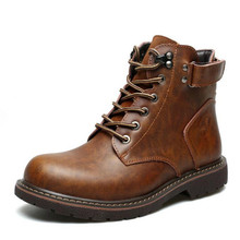 2018 autumn and winter new tube domineering men's riding boots casual men's boots leather men's shoes fashion Sneakers boots