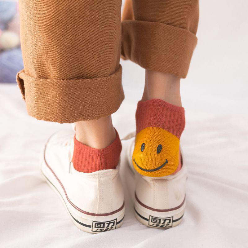 Women Socks 2019 Spring New Fashion Smile Socks 1 Pair Girls Cotton Color Novelty Women Cartoon Cute Short Socks Lady