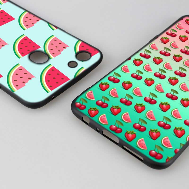 Silicone Phone Bag For OPPO F5 F7 F9 A5 A7 R9S R15 R17 Black Soft Silicone Phone Case Watermelon Fruit Style in Fitted Cases from Cellphones Telecommunications