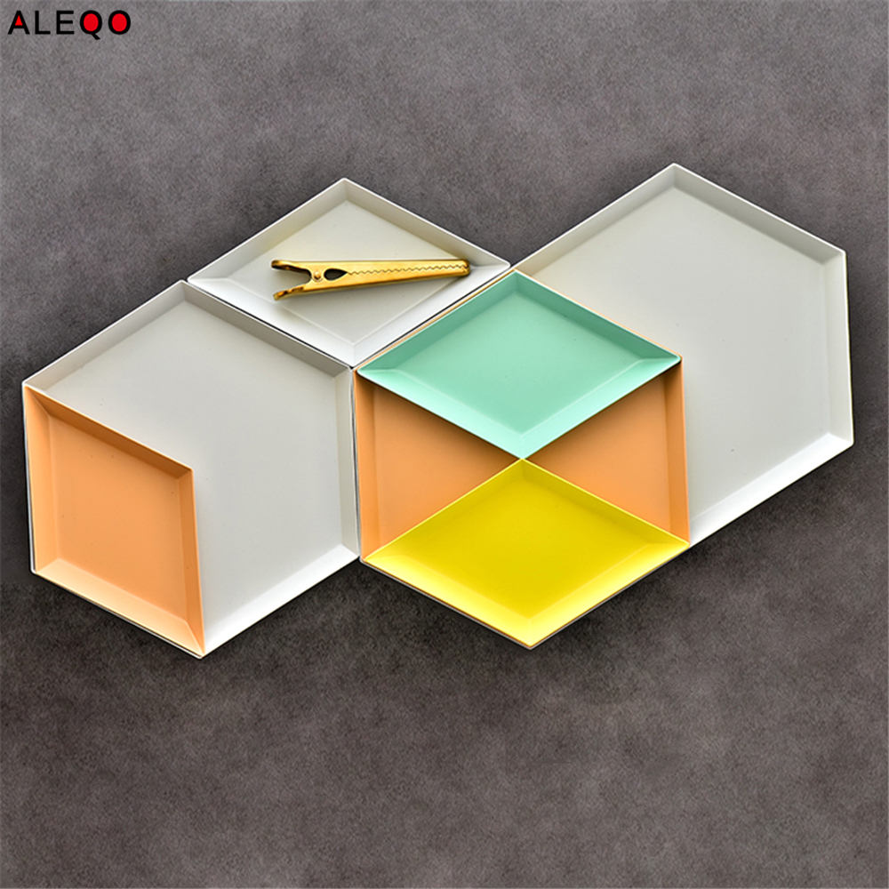 Nordic Geometry Office Table Storage Plate Chic Scandinavian Colorful Metal Desk Fruit Jewery Storage Tray Cupcake Organizer