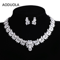 Sliver Plated bride Flower CZ Necklace And Earring Set Wedding Bridal Dress Accessories Jewelry Sets For Women Crystal Party Set