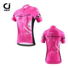CHEJI Pink Skull Women's Cycling Clothes Bike Bicycle MTB Short Jersey Shirts
