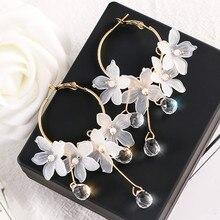 De moda de acrílico gota de agua de las mujeres pendientes de flor de cristal colgante largo pendientes para las mujeres gotas pendientes