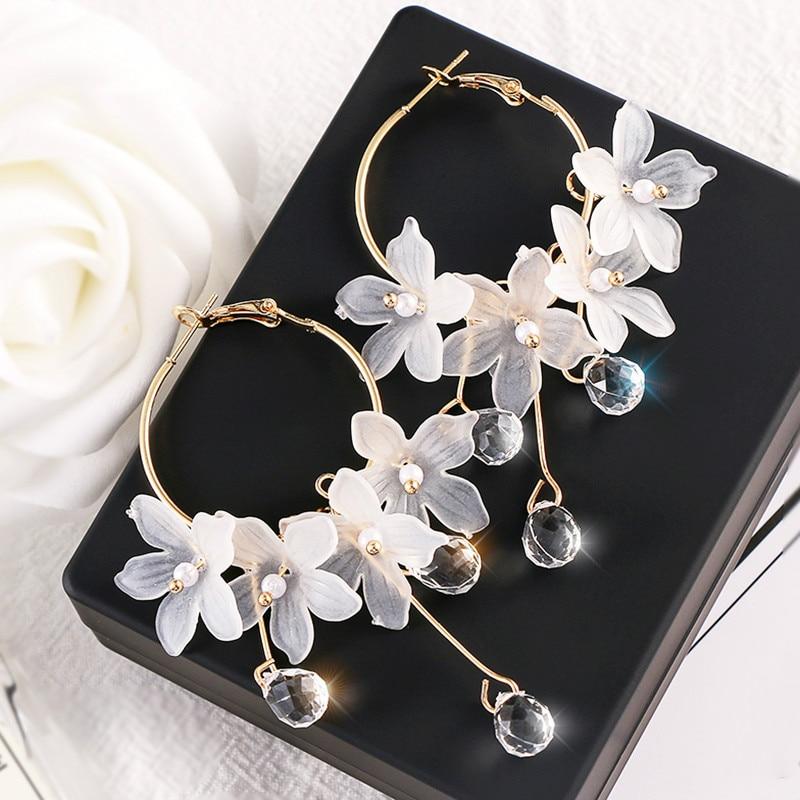 Trendy Acrylic Water Drop Women Dangle Earrings Crystal Flower Long Pendant Earrings For Women Drops Earrings