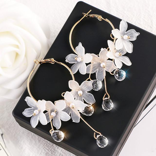 Trendy Acrylic Water Drop Crystal Flower Long Pendant Earrings