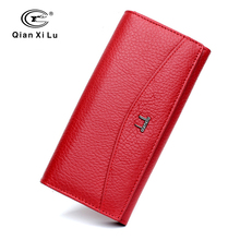 Qianxilu Brand 100% Genuine Leather Wallet for Women,High Quality Coin Purse Female