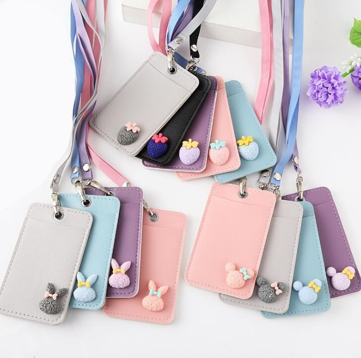 Cartoon Cute Candy Color PU Leather Card Holder With Lanyard Rabbit Girls Kawaii Bus Card Case Badge Credit Card Holders Cover