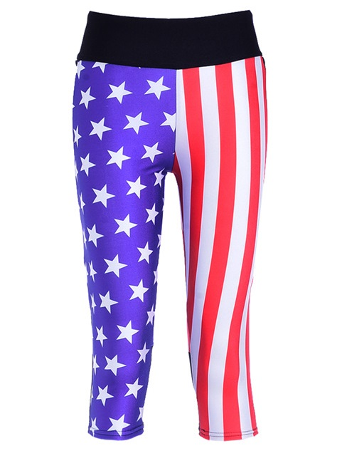 Women Sexy Silm Mid-Cal Leggings Lady Stripe Design Fitness Yoga Trousers Elastic Star Digital Print Breathable Capris