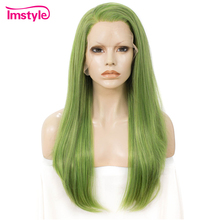 Imstyle Green Synthetic Lace Front Wig Straight Wigs For Women High Temperature Fiber Lace Front Wigs For Cosplay Wig