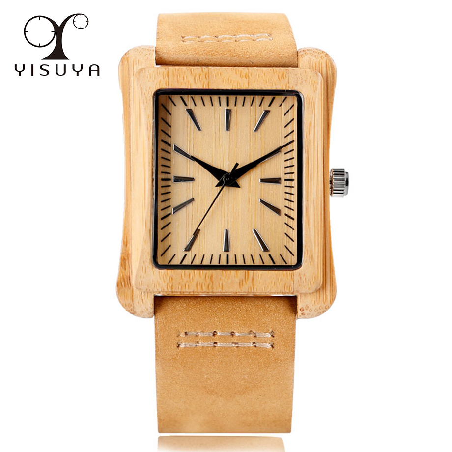 YISUYA font b Men s b font Rectangle Dial Bamboo Wooden Wristwatches Leather Band Luxury Wood