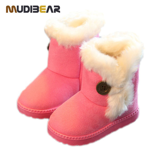 Rubber Boot Flat Boots For Children Add Wool Snow Non-slip Shoe Boy Girls Round Kid Rubber Boot Winter Boots For Children Buckle