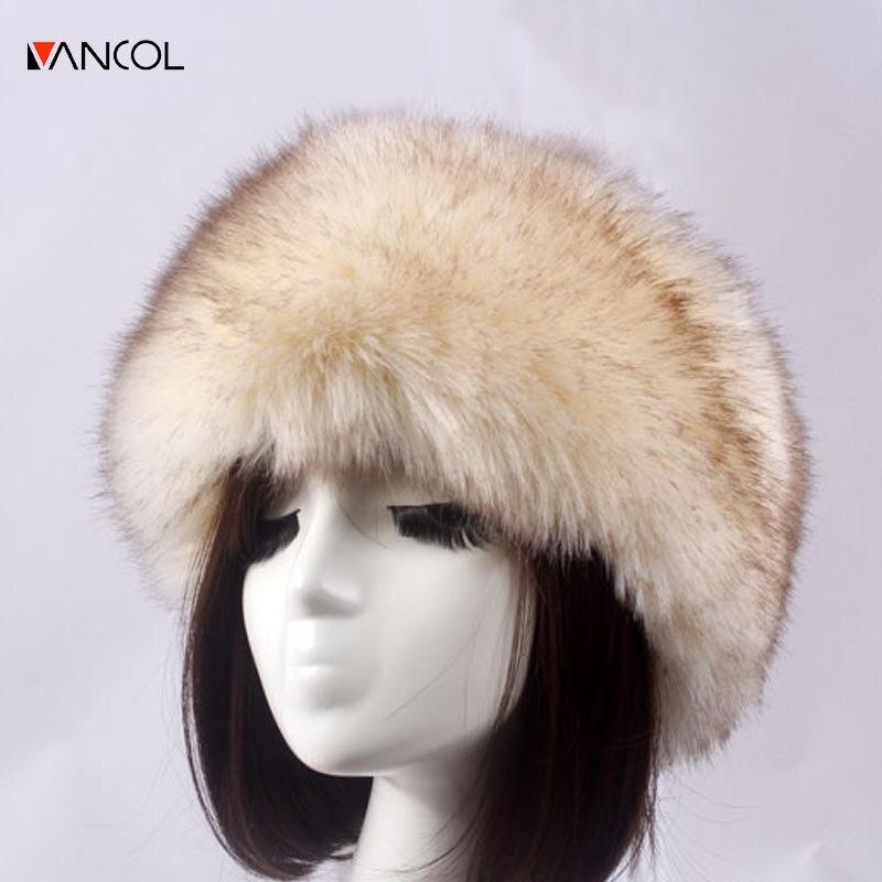 Vancol solid color warm black female thickness fur hat faux fox fur gorras women winter cap winter beanies for ladies 2017