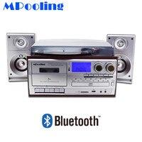 Mpooling Винтаж Ретро Виниловая пластинка проигрыватель плеер + CD плеер + кассетный плеер + MP3 плеер + USB Регистраторы + Bluetooth
